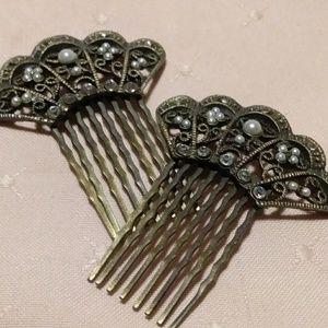 Silver tone Rhinestone faux Pearl Fan Hair combs